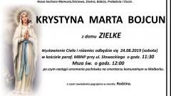 Zmarła Krystyna Marta Bojcun. Żyła 77 lat.