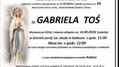 Zmarła Gabriela Toś. Żyła 63 lata.