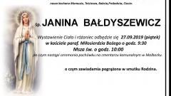 Zmarła Janina Bałdyszewicz. Żyła 85 lata.