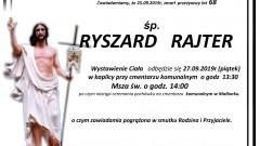 Zmarł Ryszard Rajter. Żył 68 lat.