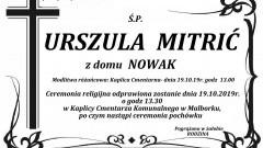 Zmarła Urszula Mitrić. Żyła 81 lat