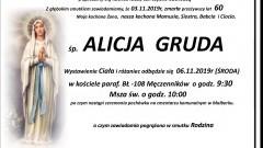 Zmarła Alicja Gruda. Żyła 60 lat.