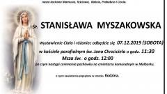 Zmarła Stanisława Myszakowska. Żyła 92 lata.