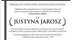 Zmarła Justyna Jarosz. Żyła 82 lata.
