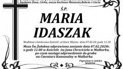 Zmarła Maria Idaszak. Żyła 65 lat.