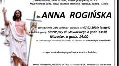 Zmarła Anna Rogińska. Żyła 77 lat.