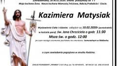 Zmarła Kazimiera Matysiak. Żyła 77 lat.
