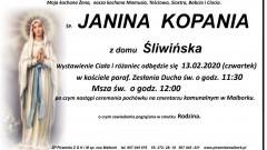 Zmarła Janina Kopania. Żyła 73 lata.