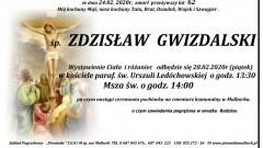 Zmarł Zdzisław Gwizdalski. Żył 62 lata.