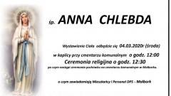 Zmarła Anna Chlebda. Żyła 80 lat.