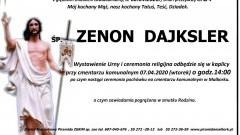 Zmarł Zenon Dajksler. Żył 84 lata.