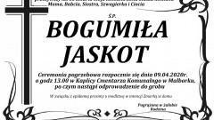 Zmarła Bogumiła Jaskot. Żyła 55 lat.