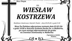 Zmarł Wiesław Kostrzewa. Żył 64 lata.