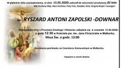 Zmarł Ryszard Antoni Zapolski - Downar. Żył 82 lata.