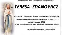 Zmarła Teresa Zdanowicz. Żyła 72 lata.