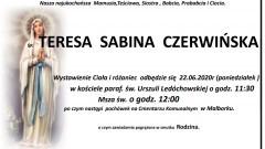 Zmarła Teresa Sabina Czerwińska. Żyła 87 lat.