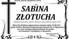 Zmarła Sabina Złotucha. Żyła 71 lat.