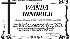 Zmarła Wanda Hindrich. Żyła 92 lata.