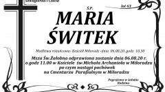 Zmarła Maria Świtek. Żyła 63 lata.
