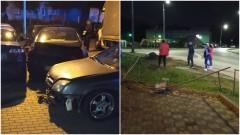 Pijany kierowca uderzył w zaparkowane samochody.