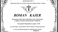 Zmarł Roman Kajer. Żył 73 lata.