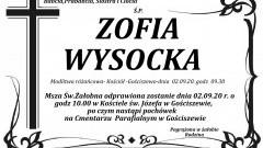 Zmarła Zofia Wysocka. Żyła 97 lat.