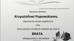 Strażacy z KP PSP w Malborku składają kondolencje.