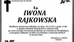 Zmarła Iwona Rajkowska. Żyła 54 lata.