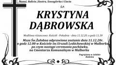 Zmarła Krystyna Dąbrowska. Żyła 63 lata.