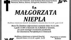 Zmarła Małgorzata Niepla. Żyła 67 lat.
