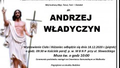 Zmarł Andrzej Władyczyn. Żył 78 lat.