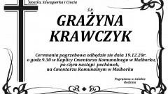 Zmarła Grażyna Krawczyk. Żyła 69 lat.