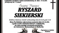 Zmarł Ryszard Siekierski. Żył 71 lat.