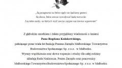 Rada Nadzorcza, Prezes Zarządu oraz pracownicy Malborskiego Towarzystwa Budownictwa Społecznego Sp. z o.o. w Malborku składają kondolencje.