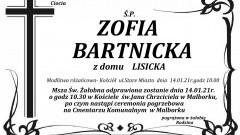 Zmarła Zofia Bartnicka z domu Lisicka.