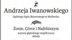 Prezes, Wiceprezes, Dyrektor, Sędziowie, Referendarze i Pracownicy Sądu Rejonowego w Malborku składają kondolencje.