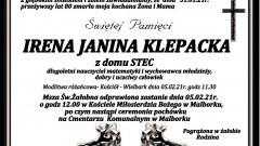 Zmarła Irena Janina Klepacka. Żyła 80 lat.