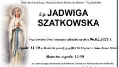 Zmarła Jadwiga Szatkowska. Żyła 65 lat.