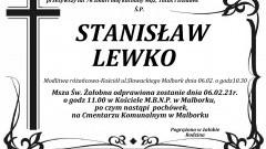 Zmarł Stanisław Lewko. Żył 76 lat.