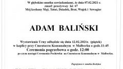 Zmarł Adam Baliński. Żył 67 lat.