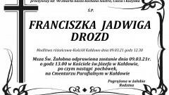 Zmarła Franciszka Jadwiga Drozd. Żyła 90 lat.