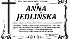 Zmarła Anna Jedlińska. Żyła 90 lat.