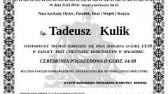 Zmarł Tadeusz Kulik. Żył 65 lat.