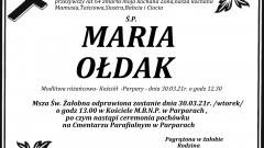 Zmarła Maria Ołdak. Żyła 64 lata.