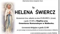 Zmarła Helena Świercz. Żyła 88 lat.