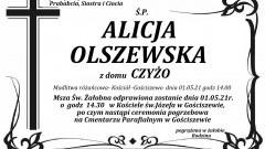 Zmarła Alicja Olszewska. Żyła 85 lat.