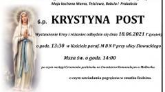 Zmarła Krystyna Post. Żyła 80 lat.