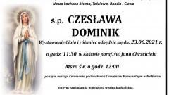 Zmarła Czesława Dominik. Żyła 91 lat.