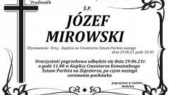 Zmarł Józef Mirowski. Żył 91 lat.