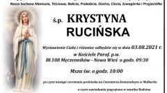 Zmarła Krystyna Rucińska. Żyła 89 lat.